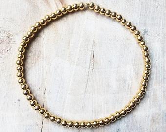 Gold bead bracelet   18k gold Sterling Silver 925   Minimal Stretch bracelet   Stackable bracelet   18K Gold Plating   3mm Gold Beads