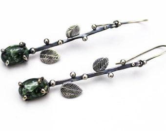 Silver Dangle Earrings, Teardrop Earrings, Gemstone Earrings, Green Stone Earrings, Serephinite, Sterling Silver Earrings, Nature Earrings