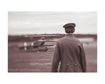 To the Past,Fine Art Photography,Sepia,Biplane,Nostalgia,Time Travel,Romantic,Dreamy,historical,airplane,man in uniform,fantasy,gray,brown