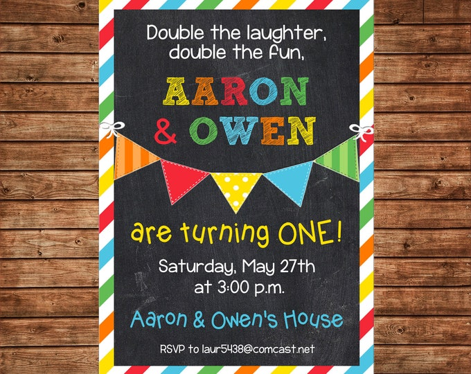Boy or Girl Invitation Twins Siblings Gender Neutral Birthday Party - Can personalize colors /wording - Printable File or Printed Cards