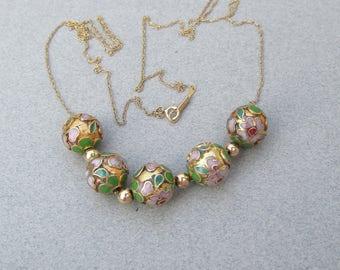 Gorgeous! 1980's Vintage Add-A-Bead 14k Gold & Cloisonne Bead Necklace