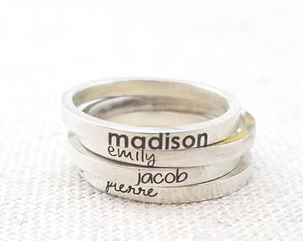 Custom Name Rings - Gift for Mom - Personalized Ring - Stacking Ring - Mom Gift-  Silver Engraved Ring - Silver Posey Ring - Mother's Day
