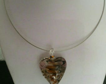 Orange glass heart pendant necklace