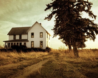 Autumn Abandonment, 8x12 Print, Dreamy Photography, Autumn Decor, Rustic Decor, Landscape Photography, Architecture Photography, Old House
