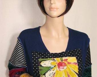 XL to 1X  Flower on Blue Dress