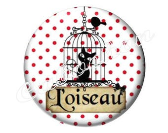 1 cabochon 25mm glass cat silhouette bird cage