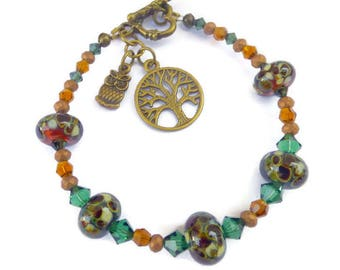 OOAK LAMPWORK BRACELET -  Artisan made lampwork art glass beads in autumnal shades with tree of life & owl charm.