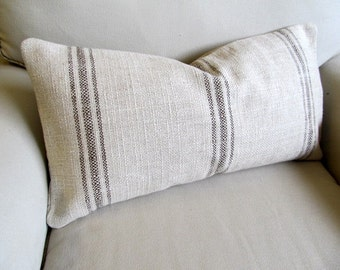 FRENCH LAUNDRY  12x25  Sofa Pillow  in CHOCOLATE Stripes
