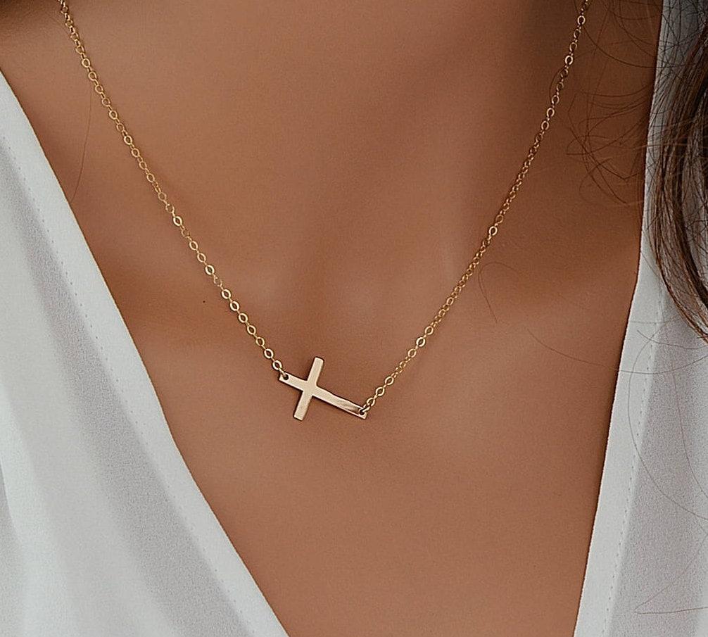 Sideways Cross Necklace Gold Cross Necklace Delicate