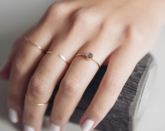 Grey Moonstone Ring | 14K Gold Filled | Stacking Ring | Birthstone | Minimalist Ring | Gift For Her