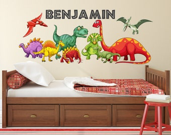 Dinosaurs Wall Decal - Kids Boys Bedroom Wall Art - Cute Dinosaurs - Personalized Name Wall Decal - Dinosaur Themed Vinyl Wall Sticker