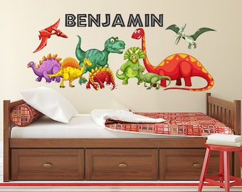 Dinosaurs Wall Decal   Kids Boys Bedroom Wall Art   Cute Dinosaurs    Personalized Name Wall Decal   Dinosaur Themed Vinyl Wall Sticker