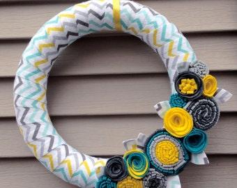 Chevron Wreath - Spring Wreath - Chevron Fabric - Pastel Wreath - Baby Wreath - Baby Shower Wreath - Felt Flower Wreath - Baby Shower Decor
