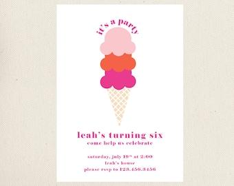 Ice Cream Cone Birthday Invitations