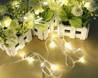 32 ft 100 LED String Fairy Lights Battery Operated Wedding Party Christmas decoration, Warm White, White
