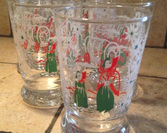 Eight Pioneer Woman Painted Juice Glasses by Libby