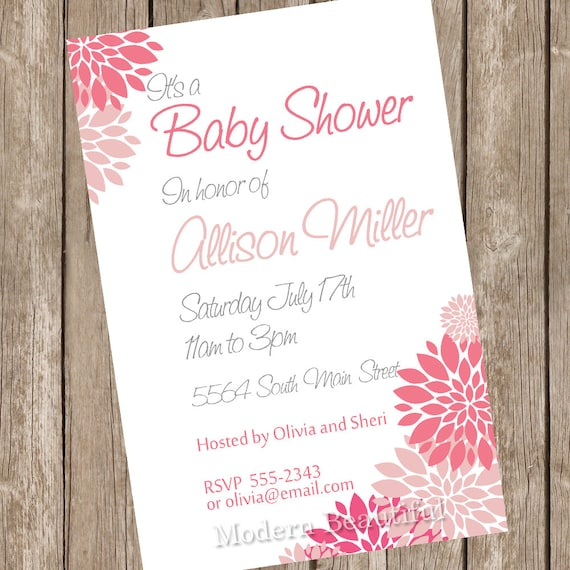 Girl baby shower invitation pink white flowers printable like this item filmwisefo Choice Image