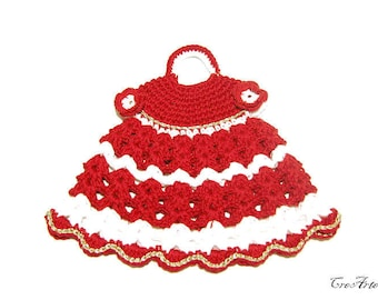 Crochet Christmas  Potholder, Red and White Potholder, Presina vestito bianco e rosso