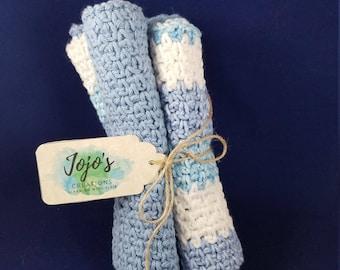 Crochet washcloths, kitchen dishcloths, cotton washcloths, blue and white washcloths