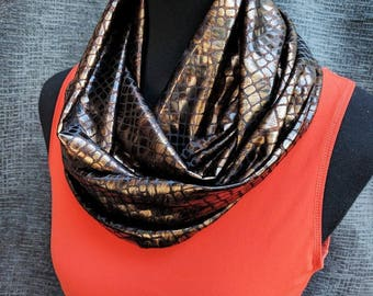 Snakeskin Scarf, Snake Infinity Scarf, Circle Scarf, Animal Print, Infinity Scarf, Dressy Scarves, Fancy Scarf, Brown Scarf, Leather Scarf