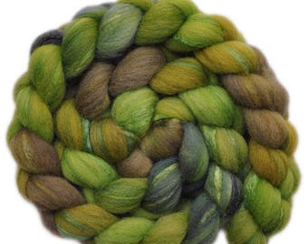 Hand painted combed top roving - Silk / Shetland wool 30/70% spinning fiber - 4.0 ounces - Canopy of Leaves 1
