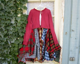 Upcycled Bohemian Gypsy Plaid Flannel Dress// Large// Reconstructed// Fall Winter// emmevielle