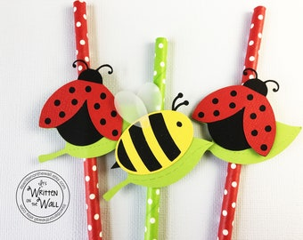 PRE-MADE  Ladybugs and Bumblebee Party Straws / Hello Spring Party / Hello Summer Party / Soda Straw/ Drink Straw