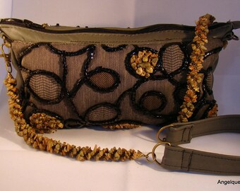 "Autumn Jasper Chip Bead Embroidered ""Carpet Bag""  Hand sewn"