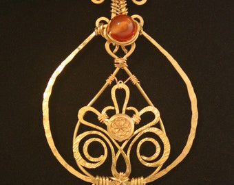 Brass Wire-wrapped Necklace With Carnelian Beads