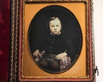 Exceptional Tinted Daguerreotype of a Handsome Young Lad, 19th Century Antique Photo in Full Case