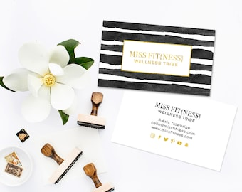 Real Gold Foil Business Card Template or Regular Print  - Moo Gold Foil design - Watercolor Stripe Business Card - Small Business Branding