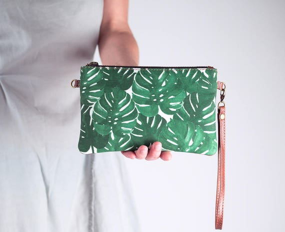 Monstera Leaf Clutch Wristlet with Shoulder Strap, Mini Crossbody Bag, Convertible Bag, Wristlet Purse, Leather and Canvas Bag Clutch Wallet
