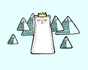 Snow leopard print, snowy mountain art, winter cat print, winter royal cat, royal cat art, cat king art, royal cat print, snow cat print