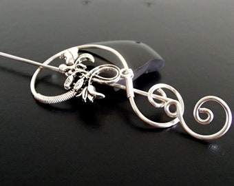 Flower Shawl Pin, Brooch pin, Scarf Pin, Sweater Brooch, Knitting Accessories, Silver Wire pin