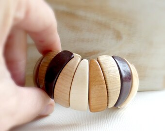 Wood gift for wife Wood bracelet Boho bracelet Geometric jewelry Chunky bracelet Wood jewelry Wooden bracelet Gift for her Valentine day