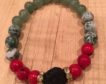 8mm Lava Rock Red Coral 500 Chew Jade Matte Tree Agate Gold Swarovski Diffuser Bracelet, Aromatherapy, Essential Oils, Beaded Bracelet