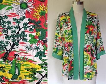 1970s Geisha print kimono jacket