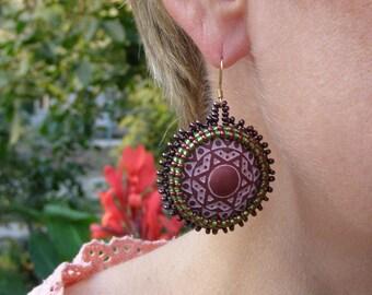 Gypsy earrings hippie purple earrings custom boho tribal african accessories boho earrings wedding beaded earrings tribal hanging beadwork