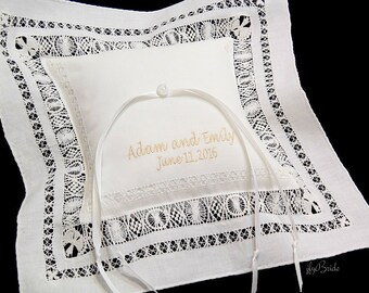 Monogrammed Ring Bearer Pillow, Personalized Irish Linen Wedding Ring Pillow, Custom Embroidered Ring Bearer Pillow, Style 3653