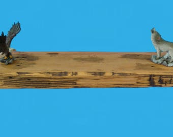 reclaimed wood floating shelf 23.75x5.50x2.in.stained golden pecan distressed #650