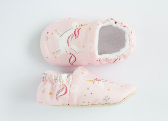 Pink cotton unicorn baby girl shoes, pre walkers and toddlers. birthday, baby shower