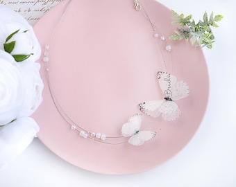 personalized gift bride white bridal jewelry personalized necklace Bridal Shower Gift Butterfly necklace gift wedding jewelry bridal Party