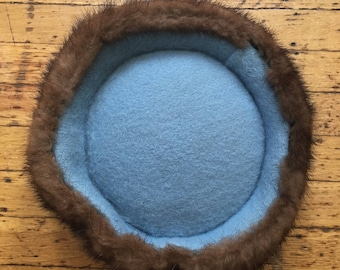 Felt and Mink Pillbox Hat