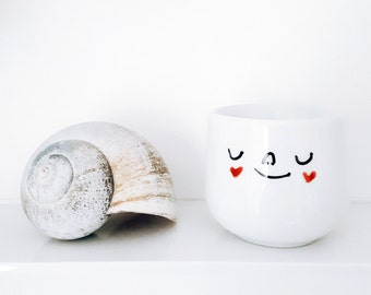 Stocking filler. Egg cup with face. White porcelain eggcup with heart cheeks - use for boiled eggs, succulent plants, rings. Kitchen gift!