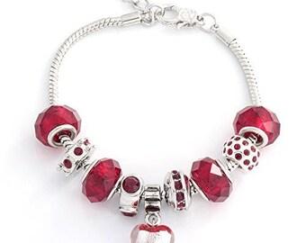 "Cate & Chloe Aphrodite ""Love"" Charm Bracelets (Deep Red)"