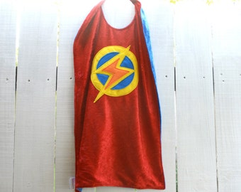 Super Hero Cape RED and BLUE - Lightning Bolt - Birthday Cape - Super Hero Cape - Halloween Costume - Kid Costume
