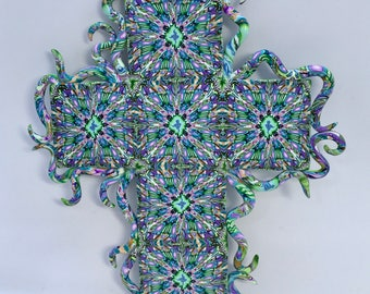 "Polymer Clay 8"" Cross Swirling Sides Kaleidoscope Unique Wall Hanging Cross Christian Art OOAK"