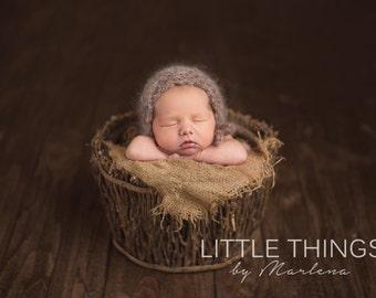 new born knitted mohair bonnet,wool and mohair bonnet
