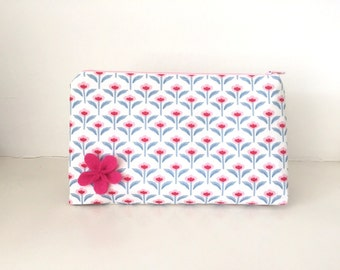 Fabric Washbag / Makeup Bag / Cosmetic Bag - Retro Pink, Red and Blue Flowers With a Felt Flower and Pink Lining