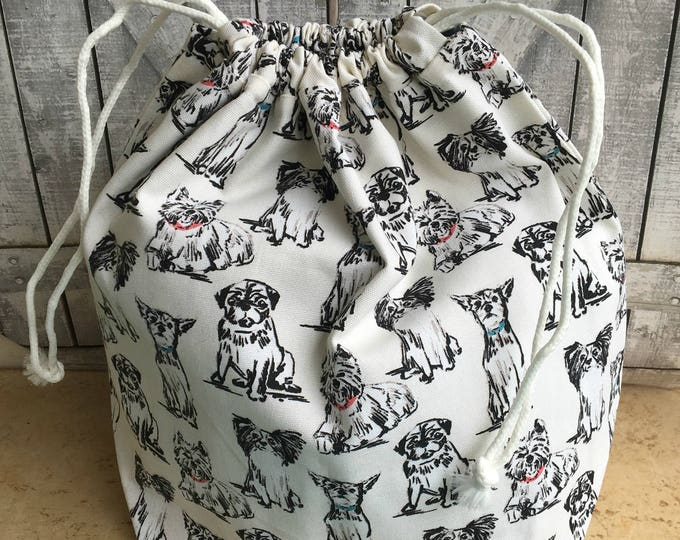 Featured listing image: Huge Knitting Project Bag - Multiple Dog Breeds,Toad Hollow bag,Crochet Project bag,drawstring bag,perfect gift for or her,gift for knitter